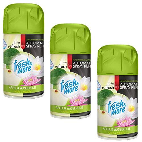 3x Fresh&More Lufterfrischer Apfel&Wasserlilie Nachfüller, 250ml