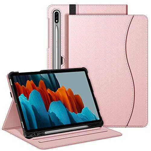 FINTIE Custodia per Samsung Galaxy Tab S7 11'' 2020 SM-T870/T875 con S Pen Holder - [Multi-angli] Slim Fit Stand Cover Protettiva Case con Tasca Auto Sveglia/Sonno Funzione, Oro Rosa