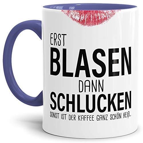 Tassendruck Sexy-Tasse Erst Blasen dann Schlucken. zweideutig/Büro/Kollegin/Witzig/mit Spruch/Innen & Henkel Cambridge-Blau