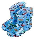 AMDHZ Botas de Lluvia para Mujeres Botas de Lluvia Infantil Botas de Lluvia Impermeables Antideslizantes Niños y niñas Zapatos a Prueba de Agua. Botas de jardinería (Color : Blue Car D, Size : 16cm)