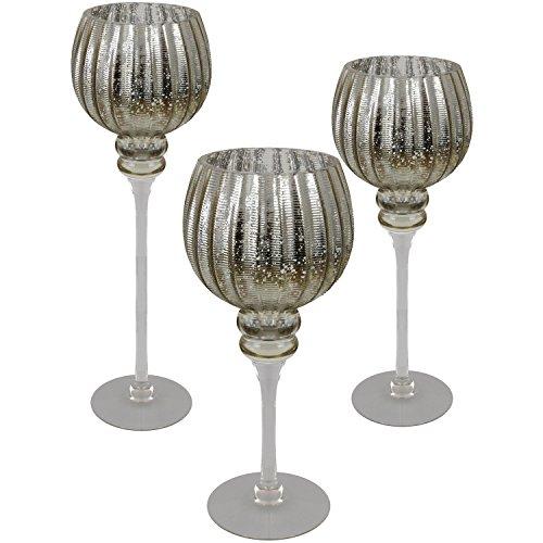 Multistore 2002 3tlg. Glaskelch Windlicht Set H40/35/30cm mit goldenen geriffelten Kelch auf Fuß Kerzenhalter Kerzenständer Kerzenleuchter