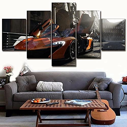 GUANGWEI HD Poste Impresión Modular Alta Definición con Marco Elástico Moderno Tela No Tejida Coche Deportivo Fresco De La Calle Muebles Modernos Arte Decoración Pared Pintura 5 Pinturas Combinadas