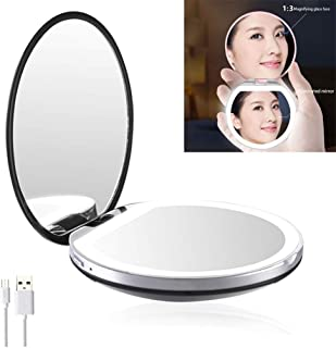 3X Magnifying Compact Travel Makeup Mirror, LED Rechargeable Double Side Pockets Mirrors