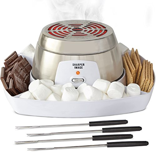 SHARPER IMAGE Electric Tabletop S'mores Maker for Indoors, 6 Piece Set