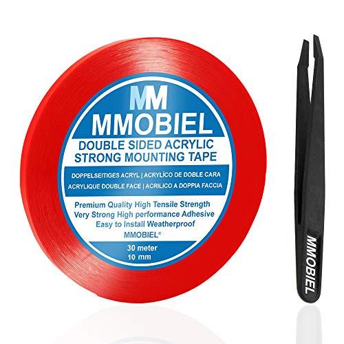 MMOBIEL 10mm Cinta adhesiva fuerte de acrílico doble cara para montaje, Largo: 30m Resistente a intemperie y Removible
