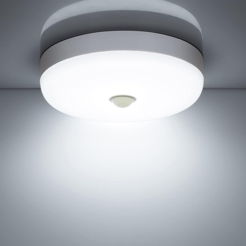 Combuh Plafones LED con sensor de movimiento,15w 1500LM 6500K blanco frío redondo lampara de techo con detector, impermeabl IP56 luz led para habitacion balcón pasillo salon cocina baño garaje