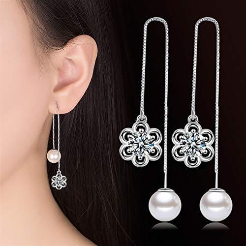 TLBB Pendientes de Gota de Perlas de Lujo Pendientes de Cristal Piedra Larga Tassel Pendientes Pendientes para Mujer Joyería de Boda Pendientes de Compromiso (Metal Color : White)