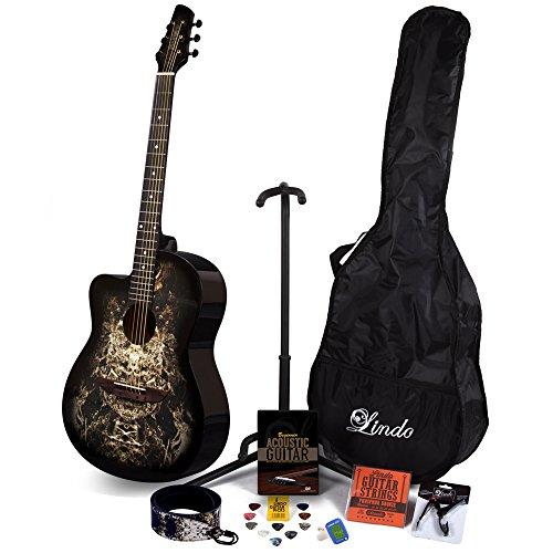 Lindo 933C Alien Akustikgitarre für Linkshänder, inkl. Zubehör-Set (Gig-Tasche, Ständer, Saiten, Gurt, 10 Plektren, DVD, Clip-On-Tuner), Schwarz