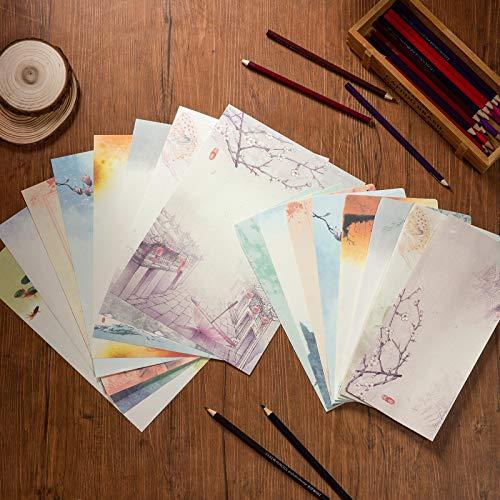Juego de Papeles y Sobres Vintage, Comius Sharp Papelería Vintage Papel, Estilo Chino Papelería Vintage Papel, 32 Hojas Papel de Cartas 16 PCS Sobres Vintage