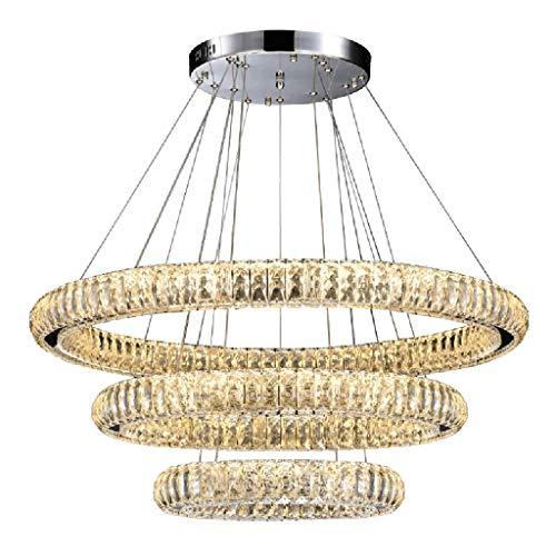 ZQH LED Kristall Pendelleuchte, Modern Ring Kristall Leuchter Kreativ 3 Runden Deckenleuchte Fixture Wohnzimmer Restaurant Hotel Büro Dekoration Hängelampe,3circles30+50+70CM