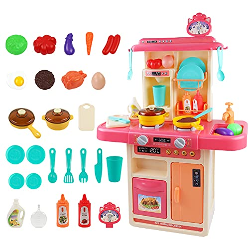DaMohony 28 Pieces Kitchen Playset, Play Kitchen Toy with Realistic Lights & Sounds, Play Saucepan, Oven, Refrigerator and Other Kitchen Accessories Set for Toddlers