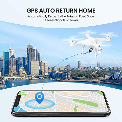 Potensic T25 Drone with 2K Camera for Adults, RC FPV GPS Drone with WiFi Live Video, Auto Return Home, Altitude Hold, Follow Me, Custom Flight Path, 2 Drone Batteries and Carrying Case