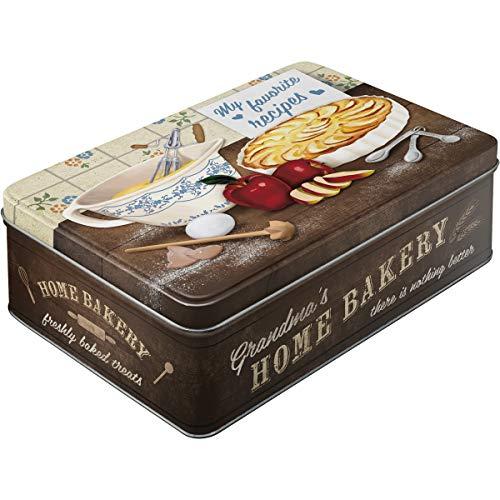 Nostalgic-Art Boîte en Fer Blanc Plate avec Inscriptions My Favorite Recipe - Home Bakery Style rétro 23 x 16 x 7 cm