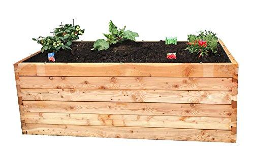 Gartenpirat Hochbeet Lärche 198x98x74 cm Bausatz aus Holz mit Folie und Drahtgitter