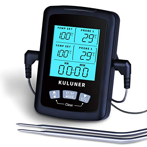 KULUNER TP-03 Dual Probes Digital Cooking Meat Thermometer, Large LCD Backlight Food Thermometer with Timer Alarm Mode. Outdoor Grilling Thermometer Suitable for Candy,Frying, BBQ, and Oven
