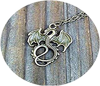Rose Mal's Gold Dragon Necklace, Descendants Inspired Dragon Necklace, Maleficent Necklace, Mal Costume Jewelry, Dragon Jewelry, Gold or Bronze