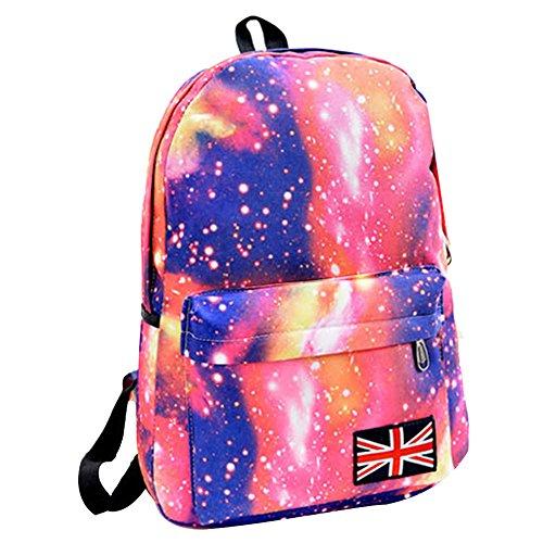 TEBAISE Schulranzen Beiläufig Schulrucksack Mädchen Teenager Galaxy Print Damen Backpack Rucksäcke College Schulrucksack Daypacks Galaxis Muster Schultasche