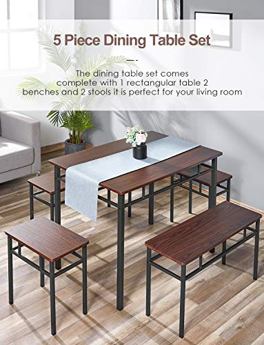 kealive Dining Table Set Kitchen Table with Bench 5 Pieces Modern Wood Table Top 2 Benches and 2 stools, Kitchen Dining Room Furniture Set 43.3''L x 27.6''W x 29.5''H Metal Frame, Brown