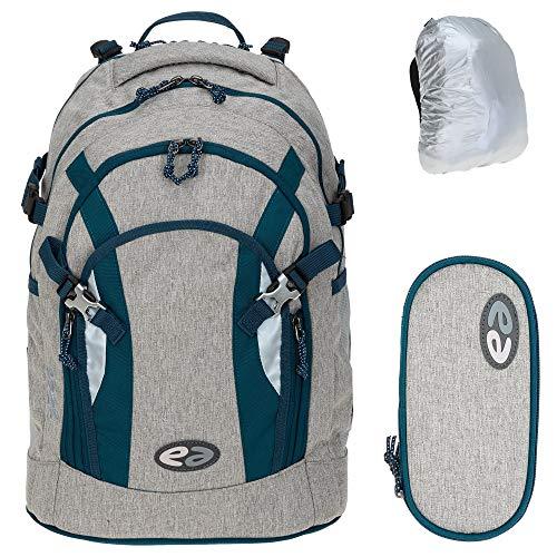3 Teile Set YZEA Schulrucksack Rucksack Ace mit Etui Box Mäppchen und Regenhülle (Steel)