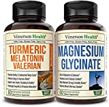 Vimerson Health Turmeric Curcumin Melatonin Valerian Root + Magnesium Glycinate 2-Bottle Bundle – Sleep, Fatigue, Relaxation Aid. Joint and Muscle Pain Relief. Antioxidant Properties Supplement
