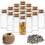 Mini Botellas de Vidrio con Tapón de Corcho (60 Piezas) - 10ml Miniatura Viales de Vidrio Frascos con 30m Cordel y 60 Tornillos de Ojo para Deseo de Fiesta Mensaje, Bodas Decoración, DIY Manualidades