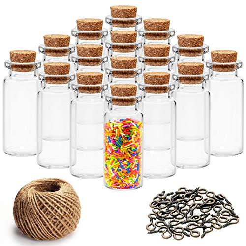 Mini Botellas de Vidrio con Tapón de Corcho (60 Piezas) - 10ml Miniatura Viales de Vidrio Frascos con 30m Cordel y 60 Tornillos de Ojo para Deseo de Fiesta Mensaje, Bodas Decoración, DIY Manua