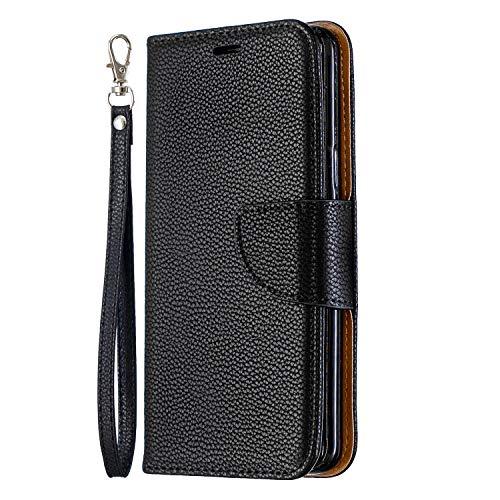 Tosim Samsung Galaxy S9 Hülle Leder, Klapphülle mit Kartenfach Brieftasche Lederhülle Stossfest Handy Hülle Klappbar für Samsung Galaxy S9 - TOBFE130175 Schwarz