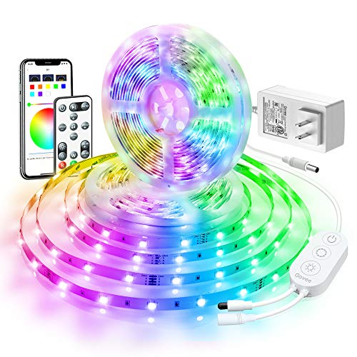 LED Strip Lights 32.8ft, Govee Bluetooth Color Changing RGB Light Strip, Music Sync and 7 Scenes with Phone App, Remote, Control Box LED Lights for Room, Party, Christmas, 3 Way Controls, 2x16.4ft