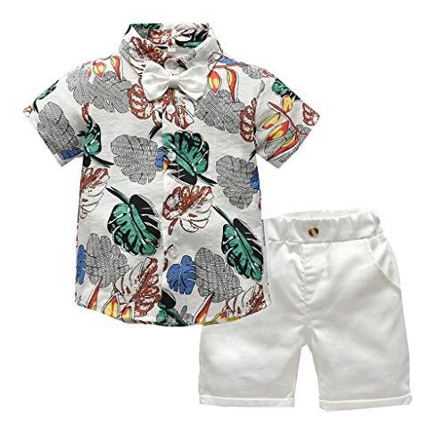 TTLOVE Kleinkind Baby Boy Bekleidung Kurzarm Fliege Gentleman Leaf T-Shirt Tops + Shorts Outfits,Jungen Kinder Sommer Kleidung Set Mode Kurze Und Hosen (Weiß,90)