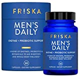 FRISKA Mens Daily | Digestive Enzyme and Probiotics Supplement | Lactase and B-Vitamins for Natural Digestion and Daily Male Health | 30 Capsules