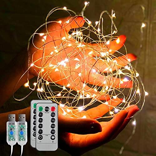 Maovii USB Lichterkette, 2 Stück 10M 100 Micro LED Lichterkette, 8 Modi Lichterketten mit Fernbedienung und Timer für Innen Dekoration (Warmweiß)