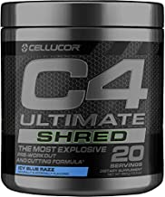 Cellucor C4 Ultimate Shred Pre Workout Powder, Fat Burner for Men & Women, Weight Loss Supplement with Ginger Root Extract, Icy Blue Razz, 20 Servings