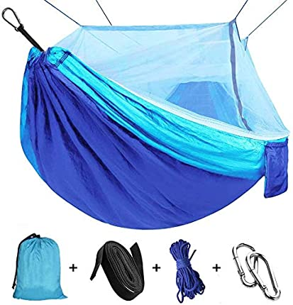"""Viaje y Camping Hamaca, Mosquitero Hamaca Ultra Ligera para Viaje y Camping Nylon Portátil Paracaídas Secado Rápido para Excursión Jardín 110""""(L) x 59""""(W) (Blue/Sky Blue)"""