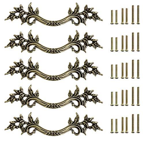 Sumnacon 5 Stück Vintage Schublade Kleiderschrank Küche Türknauf Schrank Ziehgriff Schrank Hardware für Home Dekoration (Bronze)