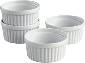 Cinf White Porcelain 6 oz. Ramekins Baking Cup Bowls Dishes, Set of 4,Souffle Cups Dishes, Creme Brulee, Custard Cups, Des...
