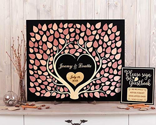 PotteLove 3D Two Trees Fused Together Wood Wedding Guest Book Alternative - Custom Name and Date - Unique Rustic Wooden Guestbooks Pink Hearts Leaves Sign Wedding Tree of Life with Love