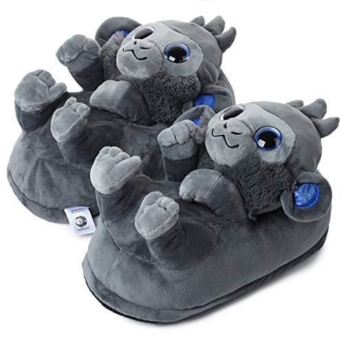 """corimori Süße Plüsch Hausschuhe (10+ Designs) Schimpanse """"Marco"""" Slipper Einheitsgröße 34-44 Unisex Pantoffeln Grau"""
