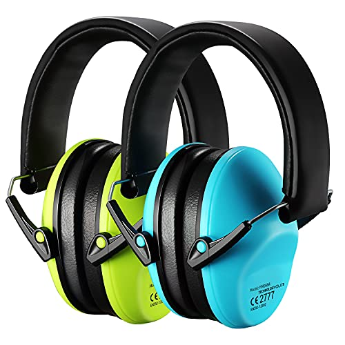 Kids Ear Protection, Adjustable Shooting Hearing Protection, 25dB NRR Sound Noise Reduction Earmuffs, Ear Protector for Range, Monster Trucks, Nascar, Study, for Infant Toddlers Children Teens-Green