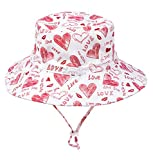Cappellino Bimba Estivo Sole Neonato Cotone Cappello Bambina Cuore Rosa 54cm 4-8 Anni