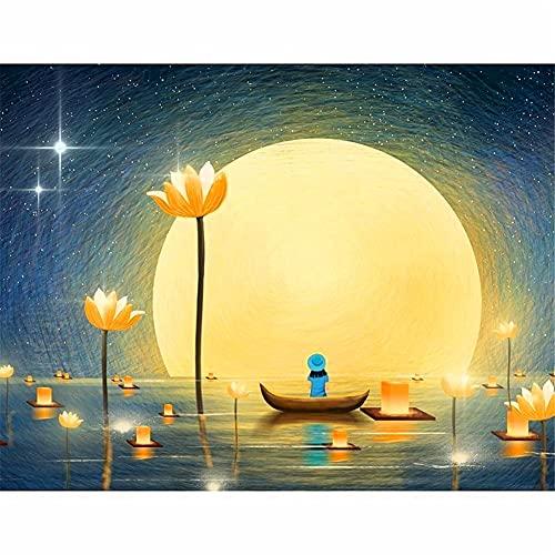 Großes DIY 5D Diamant Malerei-Set für Erwachsene Lotus Light Moon Boat Full Drill Malen nach Zahlen Kits Kristall-Stickerei Kreuzstich Home Wall Decor Quadratische Diamant 30 x 60 cm