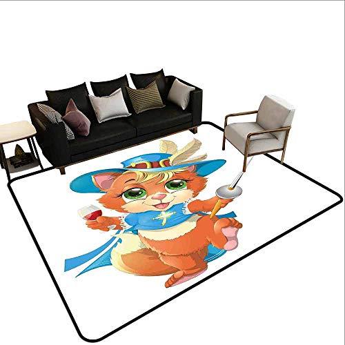 Slaapkamer woonkamer beschermingsmat Kat, Zwarte Kat op Dak van Oud Appartement in Sunset Horizon met Muziekinstrumenten en Toetsenbord, Multi kleuren