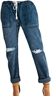 Womens Elastic Waist Jeans Ripped Holes Distressed Pull-On Stretch Denim Pants