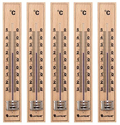 Lantelme 5 piezas de termómetro de madera Producción alemana de madera de haya análoga también para el jardín exterior y el interior 4852
