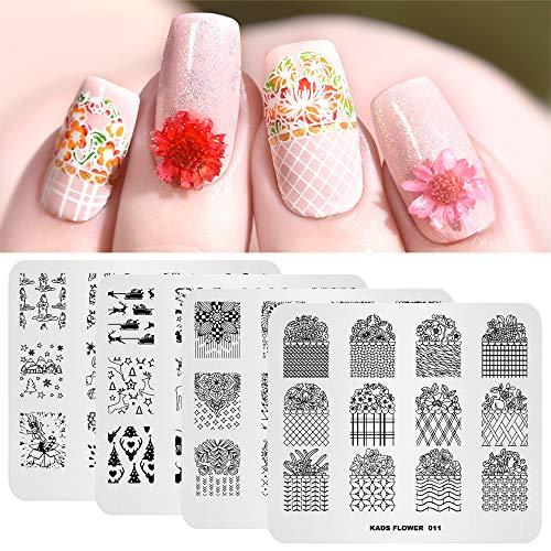 4pcs Nail Art Plaques Estampées Ensemble Fleur De Noël Conception Multi-Motifs Estampage Modèle De Pochoir Image avec 1 Pc Polonais Stamper