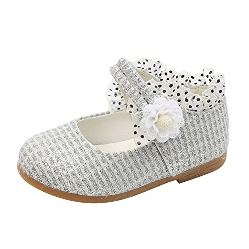 Baby Girls Princess Flower Ballerina Flats Shoes Mary Jane Glitter Shoes Ankle Strap Flats Shoes (Toddler/Little Kid) 1#Silver