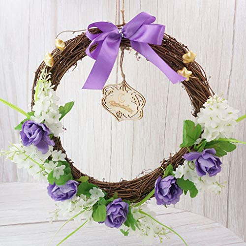 RORORO Eid Mubarak Decorations Flower Wreath Ramadan Garland Muslim Islam Hanging Pendant Wall Door Ornaments