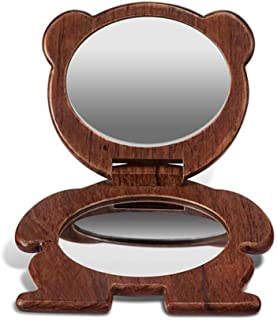 AINIYF Makeup Mirror Handheld Wooden Magnified Makeup Mirror for Purses and Travel Pocket Size Small Portable Folding