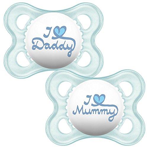 MAM Style Schnuller ab der Geburt + Sterilisierbarem Reisebehälter (Blau)