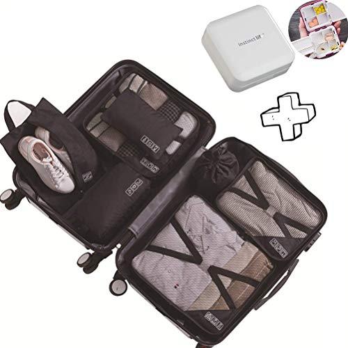 Cubos de Embalaje para Maleta, 7 PCS Organizadores de Embalaje de Viaje Impermeables Esenciales Conjunto Resistencia a Las Arrugas Organizador de Equipaje de Viaje Cable Ropa Zapatos Cosméti