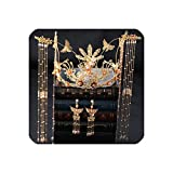 Luxury Chinese Bridal Headpiece Costume Headdress Ancient Hairpins Gold Tassel Women Wedding Jewelry Hair Accessories,Gold-Color